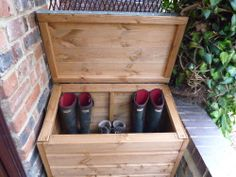 16mm Tised Timber Wood Boot Box Chest Wellies Salt Parcel Storage Outdoor Shoe