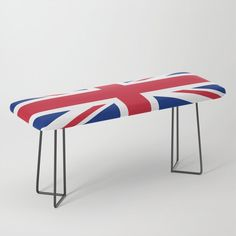 UK Flag Union Jack Bench by flagsoftheworld Uk Flag, Modern Bench, Plush Blankets, Throw Pillows, Flags Of The World, Ottoman Bench, Union Jack, Electric Blue, Cleaning Wipes