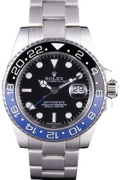 4071efd5f7e3 Buy Replica Rolex GMT Master II Black Dial Watch With Black Blue Ceramic  Hour Marked