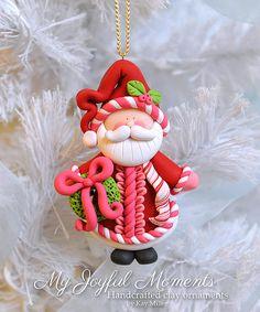 Handcrafted Polymer Clay Santa Claus Ornament por MyJoyfulMoments