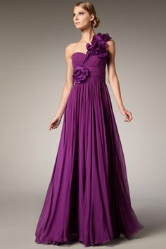 A Grecian-inspired purple bridesmaid dress.
