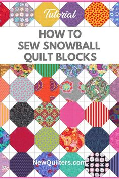 Learn how to sew the easy and versatile snowball quilt block. Tutorial  from NewQuilters.com. #quiltingtutorial, #quiltblockpiecing