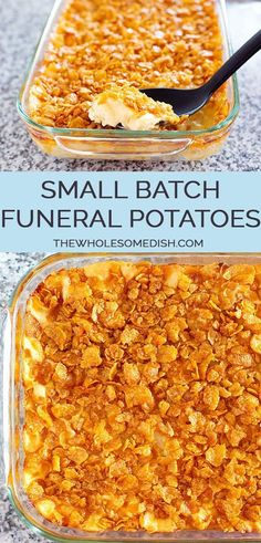 Small Batch Funeral Potatoes - AKA cheesy potato casserole with corn flake topping, party potatoes, or potluck potatoes - scaled down to make a great side dish. via Use gf soup and cornflakes Side Dish Recipes, Lunch Recipes, Vegetable Recipes, Breakfast Recipes, Vegetarian Recipes, Cooking Recipes, Potato Recipes, Best Party Potatoes Recipe, Recipe For Funeral Potatoes