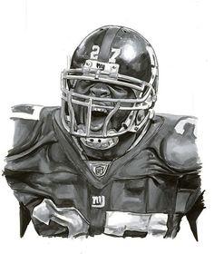 Preliminary art, Topps Chicle Art of Brandon Jacobs by Chris Henderson