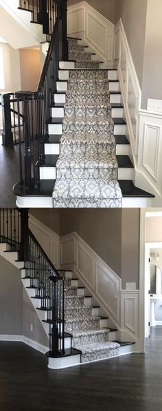 Beautiful Patterned Stair Runner on Dark Stained Stairs with Dark Hardwood Flooring | Milliken Imagine Artisan in Moonstone | New Home Construction | Home Improvement | Runner & Area Rug Ideas | Interior Design | Carpet Ideas | Ikat Pattern | Taupes, Browns & Light Blues