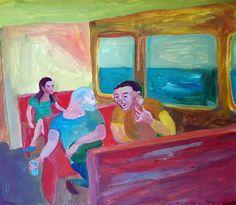 En el tren , acrílico sobre papel, 24 x 28 cm, 2004