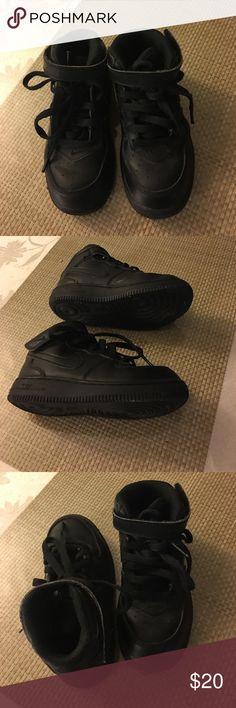 Little Boys black Nike high top shoes Nike hight top little boys shoes. Hardly worn. Nike Shoes Sneakers