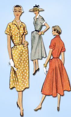 1950s Vintage McCalls Sewing Pattern 8983 Uncut Misses Day Dress Size 14 32 Bust
