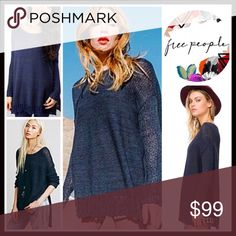 """❗️1-HOUR SALE❗️FREE PEOPLE PULLOVER Sweater FREE PEOPLE Sweater Pullover  💟NEW WITH TAGS💟  * A relaxed, oversized & slouchy fit * Incredibly soft & lightweight  * Allover knit fabric w/ pointelle details, & crochet trim * Approx 26-28"""" long, Hi-lo hem * Round neck, long sleeves w/crochet cuffs, & side vents   Fabric: 81% COTTON, polyester, nylon, linen  Color: Washed Navy Item#FP96200 SEARCH # Boyfriend Boxy Oversized loose Knit embellished fair isle 🚫No Trades🚫 ✅ Offers…"""