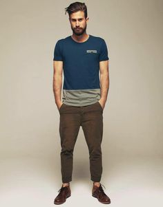Shop this look for $126:  http://lookastic.com/men/looks/teal-crew-neck-t-shirt-and-dark-brown-chinos-and-dark-brown-leather-derby-shoes/2793  — Teal Crew-neck T-shirt  — Dark Brown Chinos  — Dark Brown Leather Derby Shoes