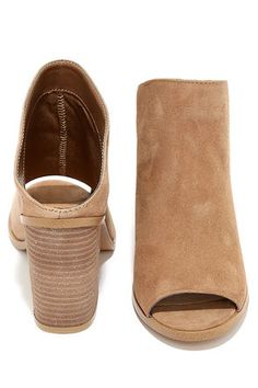 Steve Madden Nollla Tan Suede Leather Peep Toe Mules at Lulus.com!
