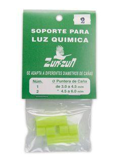 Soporte para luz química Zun Zun, se adapta a diferentes diámetros de cañas. El nº1: Puntero de cañas de 3 a 4,5mm. El nº2: Puntero de cañas de 4,5 a 6mm. La talla M de 3 a 3,6mm y talla L de de 3,6 a 4,3mm