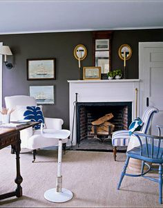 hamptons interior design style | Understated blue + brown Hamptons style: Benjamin Moore 'Clinton Brown ...