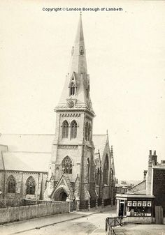All Saint's Church, Lyham Road, Brixton Hill Date : c.1910 All Saint's Church, Lyham Road, c.1910. Designed by the architect T.T.Bury and built in 1858, it was demolished and the present church built in the 1980s.