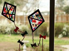 "Colorful Stained Glass Kites - Make and Takes. Thinking about having this be my first lesson plan for my group. My letter is ""K"". glass crafts for kids Colorful Stained Glass Kites Window Display Summer Crafts For Toddlers, Easy Paper Crafts, Paper Crafts For Kids, Toddler Crafts, Projects For Kids, Crafts To Make, Art For Kids, Art Projects, Arts And Crafts"