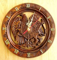 Luxury Armenian Coat Arms Hand Made Carved Wood Wall Mount Clock Souvenir Gift  #Handmade