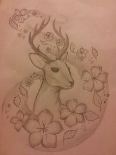 Pretty deer and floaty flowers
