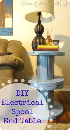 DIY Electrical Spool End Table! Love this! Wish I could get my hands on a BIG one for outside table