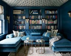 Deep blue, pale blue, denim blue...whatever the shade, it gives bookshelves depth and glamour.