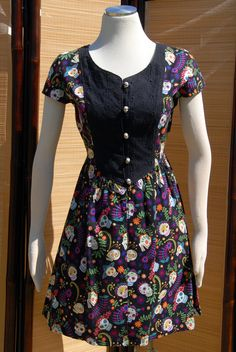 Flores Dress Playful Day of the Dead Print with by Jezenya on Etsy