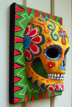 Day of the Dead Sugar Skull Mask on Canvas - Karen Hickerson - Bohemian Babe Art  #DiaMuertosATX