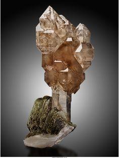 Quartz var.Smoky Scepter on Muscovite - Galiléia, Doce Valley, Minas Gerais, Brazil Size: 25.4 x 12.7 x 10.2 cm