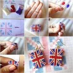 How to DIY Union Jack Beaded Earrings | iCreativeIdeas.com Like Us on Facebook ==> https://www.facebook.com/icreativeideas