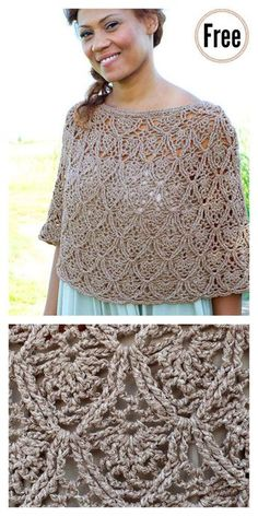Lisbon Lace Poncho Free Crochet Pattern #freecrochetpatterns #shawl #poncho