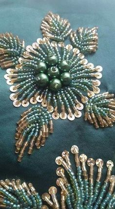 Embroidery Fashion Detail Tambour Beading 15 Ideas For 2019 Pearl Embroidery, Embroidery Leaf, Tambour Embroidery, Bead Embroidery Patterns, Couture Embroidery, Bead Embroidery Jewelry, Hand Embroidery Stitches, Embroidery Fashion, Hand Embroidery Designs