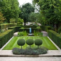 Private #garden in Richmond, Surrey...structural hedging, a focal pond with aquatic planting, and herbaceous borders and lawns