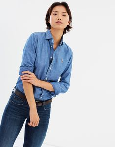 Shop over 100 top chambray shirt women all in one place. Also set Sale Alerts and shop Exclusive Offers only on ShopStyle Australia. Denim Button Up, Button Up Shirts, Kendall, Polo Ralph Lauren, Slim, Fitness, Jackets, Shopping, Chambray