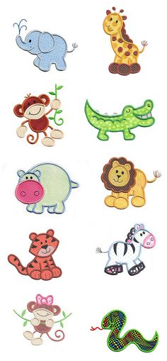 Jungle Safari Animals applique design set available for instant download at www.designsbyjuju.com