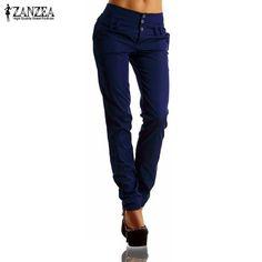 2016 Autumn ZANZEA Womens Long Pants High Waist Buttons Zipper Solid Trousers Casual Pockets Slim Pencil Pants Plus Size Capris