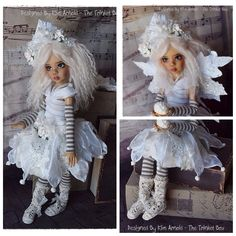 OOAK Stunning Handmade SnowFlake Outfit for Kaye Wiggs MSD BJD by Kim Arnold for The Trinket Box