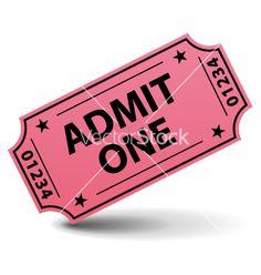 Admit one pink ticket vector 590926 - by -Albachiara- on VectorStock®