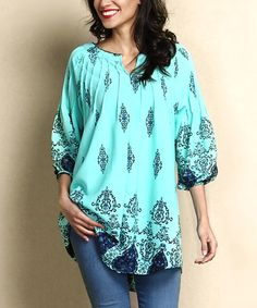 Reborn Collection Turquoise Damask Chiffon Notch Neck Tunic | zulily