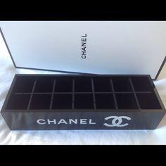 Chanel Makeup organizer : 14 compartments Brand New Chanel VIP Gift  Makeup organizer. It comes with the box. Size: 8.5 L x 2 Hx 3 w inches. Removable compartments: 3 x 3 cm each compartment (14 compartments) Makeup
