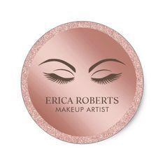 Makeup Artist Beauty Girl Rose Gold Glitter Classic Round Sticker