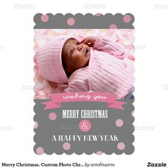 Merry Christmas and a Happy New Year. Falling Confetti contemporary design Flat Christmas Photo Cards with personalized photo and greeting. at zazzle.com