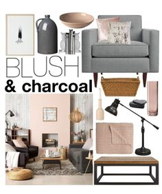 polyvore: blush & charcoal palette
