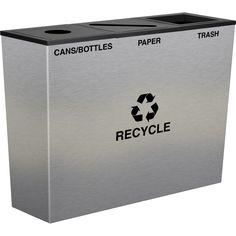 Metro Triple Stream Stainless Steel Designer Recycling Bin Receptacle