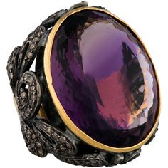 Pre-owned 39ctw Amethyst & Diamond Scroll Ring ($1,075) ❤ liked on Polyvore featuring jewelry, rings, accessories, gold, 18k diamond ring, amethyst ring, pre owned diamond rings, amethyst diamond ring and 18 karat gold ring