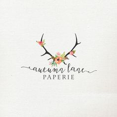 Premade Logo Design Deer and Flower Antler by AutumnLanePaperie