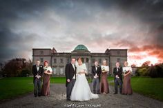 Wedding photography, bride, Emo court, sunset, bridal party
