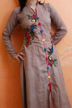 Kurti neck designs with new trend style - ArtsyCraftsyDad Neck Designs For Suits, Dress Neck Designs, Stylish Dress Designs, Churidar Neck Designs, Kalamkari Designs, Kurti Embroidery Design, Hand Embroidery, Machine Embroidery, Simple Kurta Designs