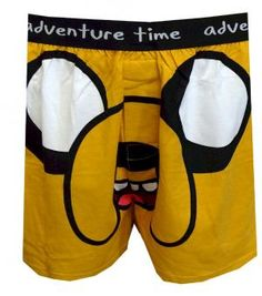 Adventure Time Big Jake the Dog Boxers  Are you ready for adventure in the Land of Ooo? With his trusty magical dog Jake, Finn the Human is going to save the day! These boxers showcase a huge Jake the Dog face on the center on a light brown background. The exposed black elastic waistband reads 'adventure time'. The boxer shorts have a functional button fly and are machine wash, easy care.