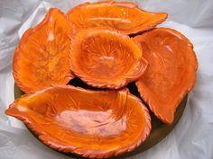 Vintage Tangerine Orange Lazy Susan Leaf Design - 1950's