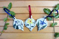 Set of 3 Wildflower ceramic decorations// painted and printed ceramic hanging ornament// wildflower decoration// handpainted decoration