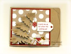 """stampersblog: After Christmas Pick Me Up Stamp Set - Woodgrain background Card stock - Cherry Cobbler, Whisper White, Season of Style DSP Dies - exclusive SU Pop N Cuts base, Mug & Hearts insert, Banners & Borders framelit, Gift Card Holder framelit, Hearts Mover and Shapers, Elizabeth Craft Design 5 part Christmas Tree framelit Etc - Neutral Candy dots, 1"""" square punch, tissue paper, Itty Bitty ornament punch and small star, gold gel pen #StampinUp #PopNCuts"""
