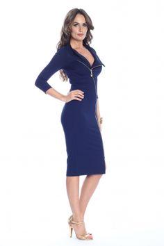Rochie bleumarin Roserry cu fermoar Fashion Days, Dresses For Work, Spandex, Casual, Products, Gadget